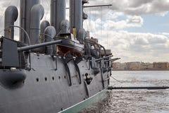 Fragment d'un vieux bateau militaire de vapeur du fin du 19ème siècle Images stock