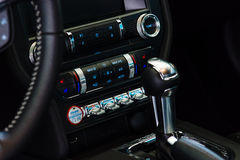 Fragment of dashboard console of a pony car Ford Mustang 50th Anniversary Edition Royalty Free Stock Photos