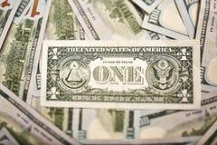 Fragment de billet d'un dollar Dollar américain d'argent Photos libres de droits