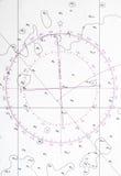 Fragment de carte de navigation, symbole de déviation de boussole Images libres de droits