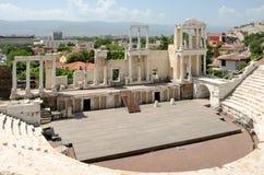 Fragment de l'amphithéâtre antique, Plovdiv, Bulgarie Photos stock