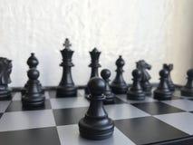 Fragment de partie d'échecs cours d'un gage e2-e4 Images stock