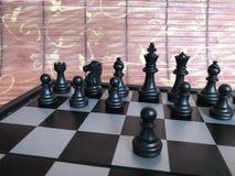 Fragment de partie d'échecs cours d'un gage e2-e4 Photographie stock