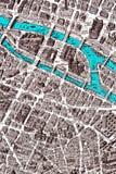 Fragment de plan rapproché de carte de Paris Photo stock
