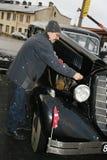 Fragment de rétro vieille voiture Volga GAZ - M1, les cadres supérieurs célèbres de voiture de ` d'emka de ` pendant le WW2 - l'U Photographie stock