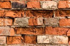 Fragment de vieux mur de briques fait en brique rouge Image libre de droits