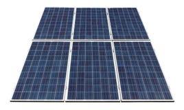 Fragment de vrai panneau solaire incliné stationnaire pour le gener de puissance image libre de droits