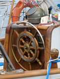 Fragment of a deck of old sailing yacht Stock Images