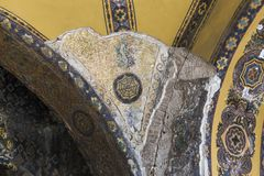 Fragment of decor ceilings in the Cathedral of Hagia Sophia, Ist. ISTANBUL, TURKEY - SEPTEMBER 11, 2017: This is a fragment of double decoration of the vaultl of Stock Photography