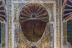 Fragment of decor with peacock on ceramic fountain, Turkey Royalty Free Stock Photography