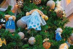 Fragment of the decorated Christmas fir tree Royalty Free Stock Images