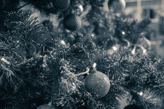 Fragment of a decorated christmas tree Stock Image