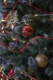 Fragment of a decorated Christmas tree. royalty free stock image