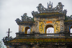 A fragment of decoration of the arch of entrance to the fortress,Entrance of Citadel, Hue, Vietnam. Stock Image
