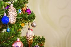 Fragment of the decoration of the Christmas tree. stock image