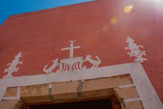 Fragment of decoration of the house. The centre of Valladolid in Mexico Yucatan. Fragment of decoration of the house. Colorful buildings on Mexican street. The Royalty Free Stock Image