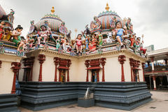Fragment of decorations the Hindu temple Sri Mariamman in Singapore Royalty Free Stock Photography
