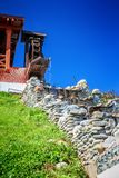 Decorative old watermill. Fragment of decorative old watermill, an example of medieval technologies Royalty Free Stock Photo