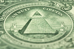 A fragment of a denomination of one US dollar Stock Image