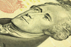 A fragment of a denomination of ten US dollar Royalty Free Stock Photography