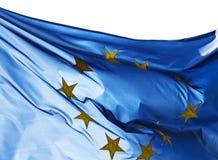 Fragment der europäischen Flagge im Sonnenlicht Stockbilder