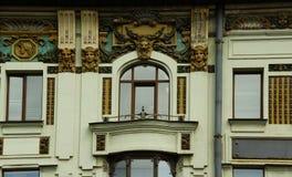 Fragment der Fassade der Villa in der Art Nouveau-Art auf Nevsky Prospekt Lizenzfreie Stockbilder