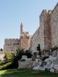 Fragment der Festungswände des alten Schleppseiles und des Turms von David in Jerusalem Lizenzfreie Stockbilder
