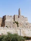 Fragment der Festungswände des alten Schleppseiles und des Turms von David in Jerusalem Stockbilder