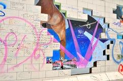 Fragment der Ostseiten-Galerieausstellung, Berliner Mauer, Deutschland Lizenzfreie Stockfotografie