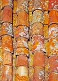 Fragment des bunten alten Ziegeldachs Stockfoto