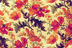 Fragment des bunten Retro- Tapisserietextilmusters mit Blumenverzierung Stockfoto