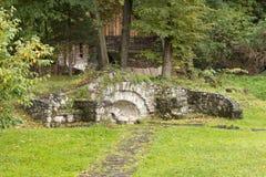 Fragment des drastischen, Schlosses des Kleie-Schlosses - des 14. Jahrhunderts, des ehemaligen königlichen Wohnsitzes u. der ange stockfotografie