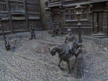 Fragment des Flachreliefs auf der Geschichte der Stadt von Krasnodar Lizenzfreies Stockbild