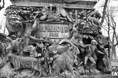 Fragment des Monuments zu Ivan Krylov im Sommer-Garten Lizenzfreie Stockfotografie