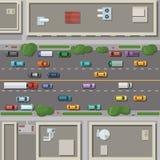 Fragment des Stadtplans mit Dächern, Straßen und Autos auf ihm Draufsichtvektorillustration lizenzfreie abbildung