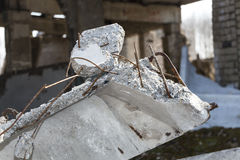 A fragment of the destroyed brick building Stock Photo