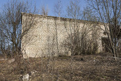A fragment of the destroyed brick building Royalty Free Stock Photo