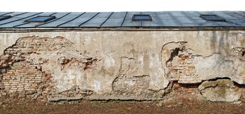 Fragment of the destroyed  centenary church  wellow wall  with a. Roof made of sheets of galvanized sheet metal. Isolated  on top panoramic collage from several Stock Photography