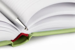 Fragment of diary with silver pen Royalty Free Stock Photography