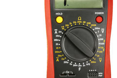 Fragment of a digital multimeter isolated on white background Stock Images