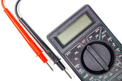 Fragment of digital multimeter with probes closeup on a white background Royalty Free Stock Photo