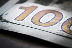Fragment 100 dollarrekening Stock Afbeelding