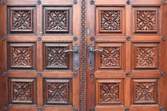 Fragment door of church of St. Ludmila Stock Photos