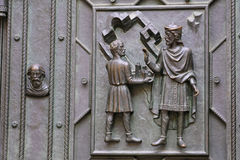 Fragment of a door repousse of St. Vitus Cathedral in Prague Castle Royalty Free Stock Images