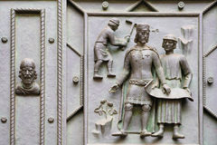 Fragment of a door repousse of St. Vitus Cathedral in Prague Castle Stock Image