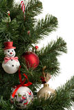 Fragment dressed up Christmas tree Stock Photo