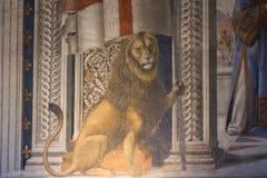 Fragment du fresque par Domenico Ghirlandaio de dei Gigli de Sala dans Palazzo Vecchio, Florence, Toscane, Italie images libres de droits
