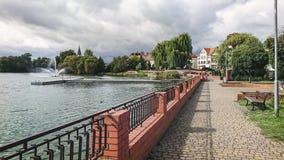 Fragment du lac castle dans la ville de Walcz, Pologne images stock