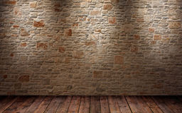 Fragment du mur de briques brillé Photos libres de droits
