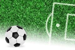Fragment du terrain de football et de la boule Images stock